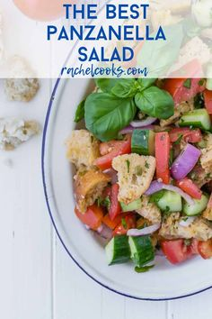 Simply delicious traditional panzanella salad is a summer treat with loads of red ripe tomatoes, chunks of crusty bread, and fresh green basil, dressed in a white wine vinaigrette. Panzanella Salad Recipe, Caprese Salad, Tomato Salad, Roasted Vegetable Salad, Roasted Vegetables, Summer Salad Recipes, Summer Salads, New Recipes, Cooking Recipes