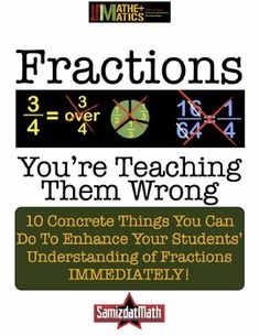 This has detailed recommendations on how you can vastly improve the way you talk about, model and teach almost all aspects of fractions in the 3rd through 7th grade classroom.