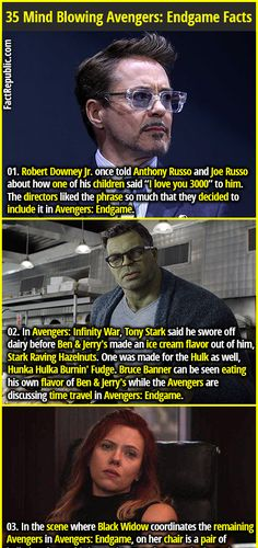 35 Interesting Avengers: Endgame Facts That'll Blow Your Mind Robert Downey Jr. once told Anthony Russo and Joe Russo about how one of his children said love you to him. The directors liked the phrase so much that they decided to incl Avengers Memes, Marvel Memes, Marvel Avengers, The Avengers Assemble, Captain Marvel, Marvel Comics, Anthony Russo, Joe Russo, Album Design