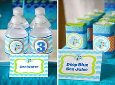 Rainbow fish party featured by Crissy's Crafts! Sea Water & Deep Blue Sea Juice... Cute! The label would also work for a deep blue drink in a serving container.