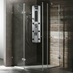This space-saving neo-angle shower door is a great way to create a large shower without taking up considerable space. The simple look of the frameless sealed enclosure gives it a sophisticated and spa-like appearance, with hinges in several finishes.