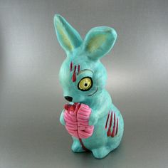 Bunny ZOMBIE eating BRAINS by snew on Etsy, $45.00