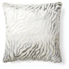 Zebra Striped Pillow, Silver