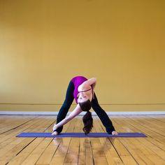 Wide-Legged Forward Bend Twist: Adding a twist to a Wide-Legged Forward Bend allows you to open one shoulder at a time.