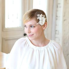 Bridal hair pin  wedding hair pin flower pin lace hair by woomipyo, $38.00