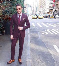 Cheap Burgundy Mens Suits Slim Fit Two Buttons Groom Wedding Tuxedos Cheap Two Pieces Custom Suit (Jacket+Pants) Blue Plaid Suit, Maroon Suit, Burgundy Suit, Best Suits For Men, Cool Suits, Mens Fashion Suits, Mens Suits, Men's Fashion, Groomsmen Suits