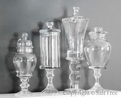 make your own apothecary jars from old vases, glass knobs, various lids, and glass candle sticks