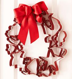 Cookie Cutter Wreath - Include this in a basket with Holiday Cookie supplies - cute bowl or tin, rolling pin, sprinkles, frosting and recipes or a cook book!
