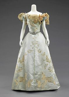 Ball gown.  House of Worth  (French, 1858-1956)  Designer: Jean-Philippe Worth (French, 1856-1926)  Date: 1898  Medium: silk, rhinestones, metal.