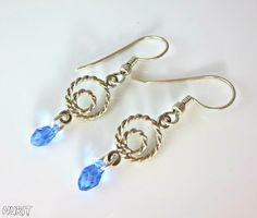 #Sterling, #silver, #Swarovski, #earrings, #blue, #drop, #jewellery, #light, #dangle, #hook