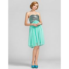 A-line Sweetheart Knee-length Stripes Tulle Cocktail Dress – ILS ₪ 586.43