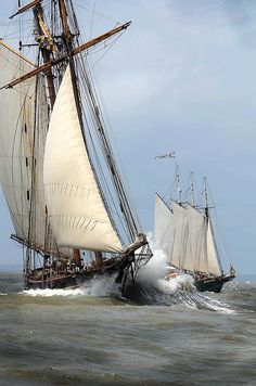 Pride of Baltimore II, left, and the three masted schooner Alliance, right, sail out the Savannah River shipping channel past Tybee Island on the first leg of the Tall Ships Challenge.Photo by John Carrington. Old Sailing Ships, Classic Sailing, Wooden Ship, Yacht Boat, Sail Away, Set Sail, Wooden Boats, Tall Ships, Water Crafts