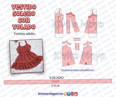 KiVita MoYo : VESTIDO SOLERO CON VOLADO- Version adulta e infant... Dress Sewing Patterns, Sewing Patterns Free, Clothing Patterns, Fashion Sewing, Diy Fashion, Ideias Fashion, Sewing Clothes, Diy Clothes, Beach Crochet