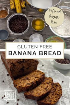 Looking for Gluten free baking recipes? This is the BEST gluten free banana bread recipe - easy, delicious and refined sugar free! This banana bread with chocolate chip is a perfect gluten free breakfast idea, lunch box treat or gluten free dessert idea. #glutenfreebananabread #GFbananabreadrecipe #GFbaking #bananabreadchocolatechip Best Gluten Free Banana Bread Recipe, Gluten Free Recipes For Kids, Easy Gluten Free Desserts, Dessert Recipes For Kids, Gluten Free Snacks, Banana Bread Recipes, Dinner Recipes, Baking Recipes, Real Food Recipes
