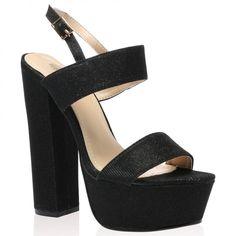 Thalia Platform Heels in Black Shimmer Shoes Heels Boots, Heeled Boots, Killer Heels, Court Shoes, Womens High Heels, Shoe Collection, Platform, Footwear, Thalia