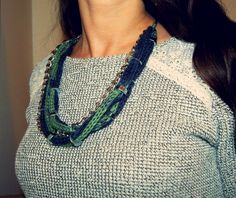 Wardrobe Recycle: Yarn and Bolts Necklace Turquoise Necklace, Beaded Necklace, Refashion, Knitting, Crochet, Armoire, Jewelry, Recycling, Necklaces