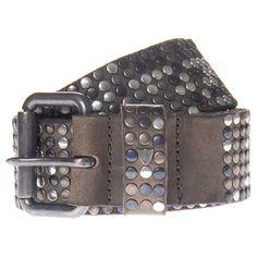 HTC Studs Grey Grey leather belt with studs ($325) via Polyvore