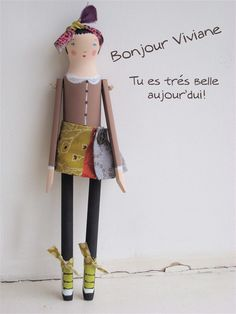 Viviane is a contemporary original and stylish hand-made and hand painted wooden doll by Sophie Tilley Designs.
