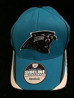 691461ed286 NFL Carolina Panthers Adult Reebok L XL Flex Fit Hat www.mancavesonline.com