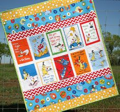 Dr Seuss Quilt, Green Eggs and Ham, Chevron Stripes, Bright Colors, Baby… I Spy Quilt, Cot Quilt, Strip Quilts, Panel Quilts, Baby Quilt Patterns, Sewing Patterns, Cot Blankets, Homemade Quilts, Green Eggs And Ham
