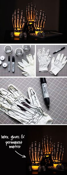 Glowing Skeleton Hands | 20+ DIY Outdoor Halloween Decorations on a Budget