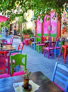 Colorful Old Town of Chania, Crete Ιsland, Greece World Of Color, Color Of Life, Outdoor Spaces, Outdoor Living, Outdoor Decor, Cafe Design, House Design, Outdoor Restaurant, Colourful Buildings