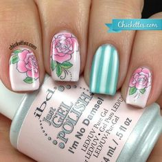 Rose and stripes nailart #nailart #roses #stripes