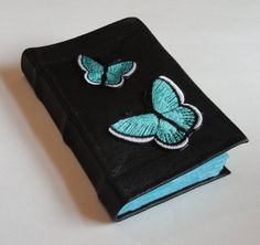 Black leather bound Pocket journal with Teal by SolitaireDesigns, $15.00