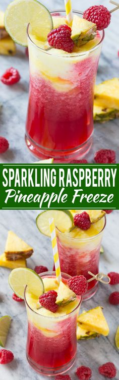 This sparkling raspberry pineapple freeze is a festive and refreshing drink that takes just minutes to put together. #WaterMadeExciting Ad: