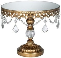 vintage cake stand inspiration~I want to make this..old lamp base? Plastic prism garland?