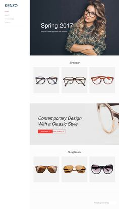 Kenzo – eCommerce. Vytvořte si vlastní web z této šablony na www.webevize.cz Kenzo, Contemporary Design, Ecommerce, Eyeglasses, Classic Style, Eyewear, Sunglasses Women, Shopping, Glasses