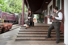 July 2012 - The Northwest Railway Museum was selected as the most authentic location available for an engagement photo session in harmony with an upcoming vintage travel-themed wedding. [mhariscott photography]