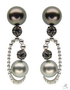 Diamond and pearl earrings by Reena Ahluwalia
