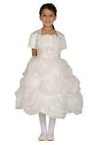 Flower Girls Dresses -Girls Dress Style 62406B-Choice of White or Ivory Organza Dress with Bolero