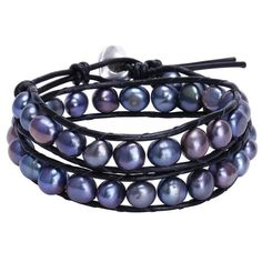 Aobei Freshwater Black Pearl Bracelets Two Wraps Stackable Leather Jewelry - Best Deal From Cap