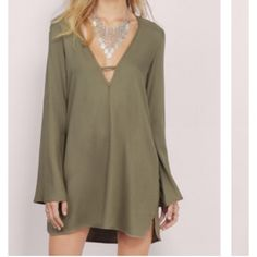 Olive shift dress Super cute! Worn one time!! Sold out everywhere! Wear with a lacy bralette or with a regular bra for a sexier look! Tobi Dresses Mini