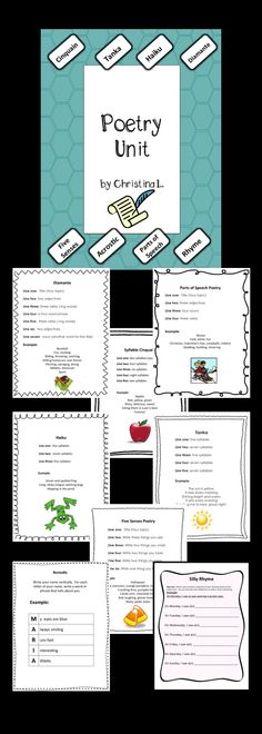 Poetry Unit - How to Write Eight Types of Poems, Templates, Worksheets