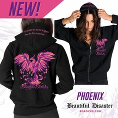 Have the pullover, zip up, T shirt, and tank top. (Plus a key chain and lanyard) I LOVE phoenixes and the saying on this clothing is perfect! Beautiful Disaster Clothing, Warm Dresses, Toxic Vision, Biker Chick, Festival Wedding, Perfectly Imperfect, Key Chain, Fashion Styles, Playboy