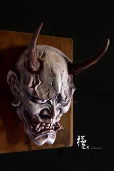 Hannya mask white by pochishen