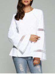 SHARE & Get it FREE | Mesh Spliced Bell Sleeve Dovetail BlouseFor Fashion Lovers only:80,000+ Items • New Arrivals Daily • Affordable Casual to Chic for Every Occasion Join Sammydress: Get YOUR $50 NOW!