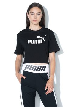Puma, Tricou crop relaxed fit Amplified, Negru, M - eMAG. Adidas Jacket, Athletic, Fitness, Sports, Jackets, Tops, Style, Fashion, Hs Sports
