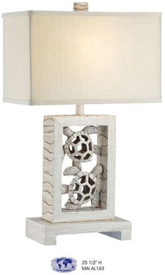 Carved Rectangle Turtle Table Lamp