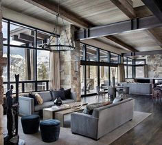 Incredible mountain modern dwelling offers slope-side living in Montana modern-living-room Mountain Home Interiors, Modern Mountain Home, Mountain Homes, Modern Lodge, Elegant Living Room, High Ceiling Living Room Modern, Modern Farmhouse Kitchens, Kitchen Modern, Farmhouse Design