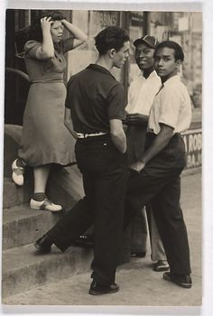 Group of Teenagers on a Stoop, New York City by Sid Grossman 1948.