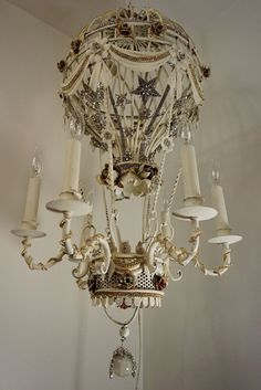Hot air balloon chandelier lighting ooak by AnitaSperoDesign