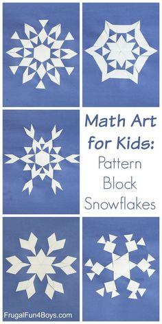 Math Art: Make Pattern Block Snowflakes – Frugal Fun For Boys and Girls Math Art: Make Pattern Block Snowflakes – Explore geometric shapes and patterns with this STEM activity. Winter Activities For Kids, Math For Kids, Art Activities, Winter Fun, Winter Theme, Pattern Blocks, Pattern Art, Snowflakes Art, Math Art