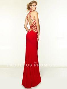 Sheath / Column Beading Chiffon Prom Dresses / Evening Dresses - FabulousPromGirl.com