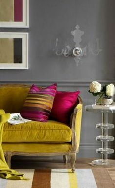 Grey, mustard and fuchsia