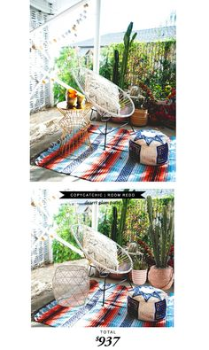 A desert boho patio featured by @mydomaine recreated by @lindseyboyer for Copy Cat Chic for only $937