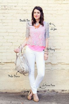 white jeans, neon pink top, grey, wedges